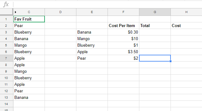Fruit Google Sheets