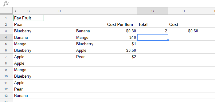 Google Sheets Fruit absolute reference error
