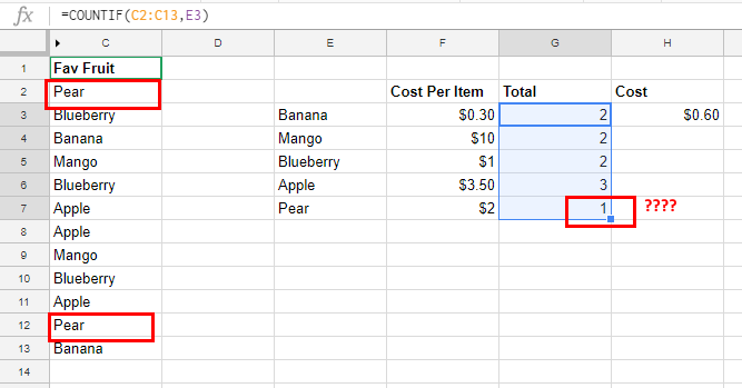 Fruit google sheets no absolute reference.
