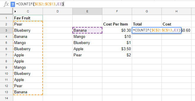 Google Sheets Absolute reference with F4