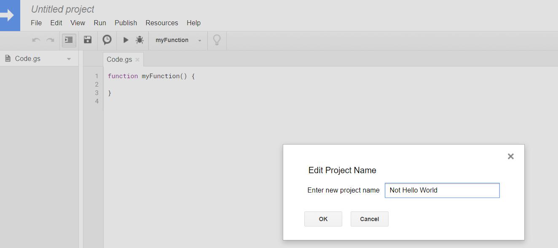 Google Script Editor Name Project