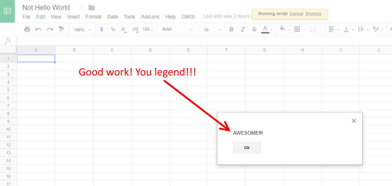 Google Script Editor alert