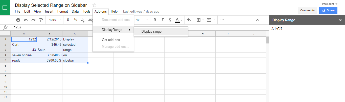 Display Selected Range On Sidebar in Google Sheets with Google Apps Script