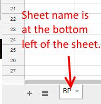 Sheet name